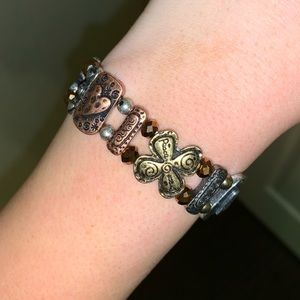 Gold copper and silver multi metal bracelet
